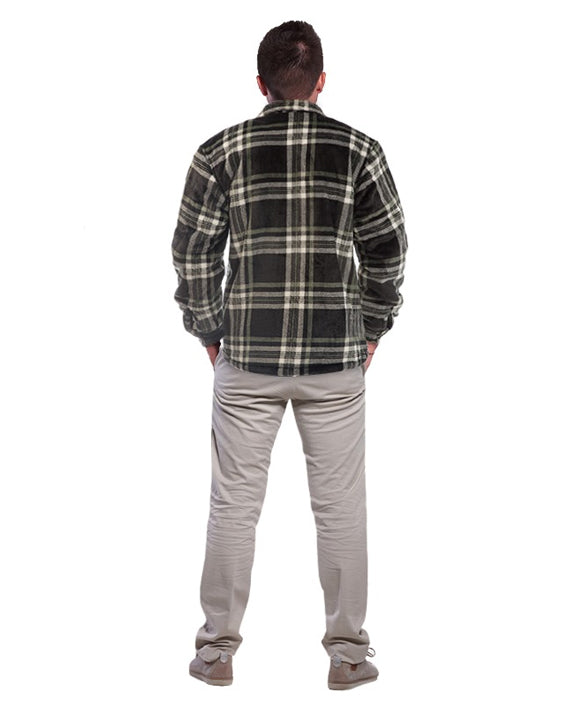 Lumberjack Jacket for Men Grey/White - Heat Insulator + FREE Bag