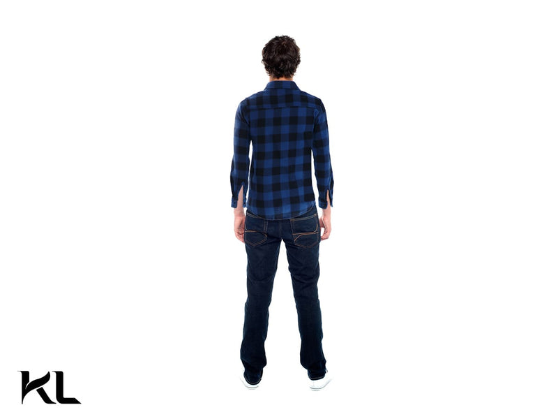 Men Fleece Plaid Shirt Blue