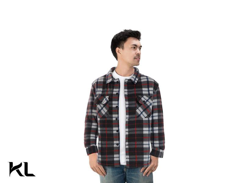 Men Fleece Plaid Shirt Black,White,Red