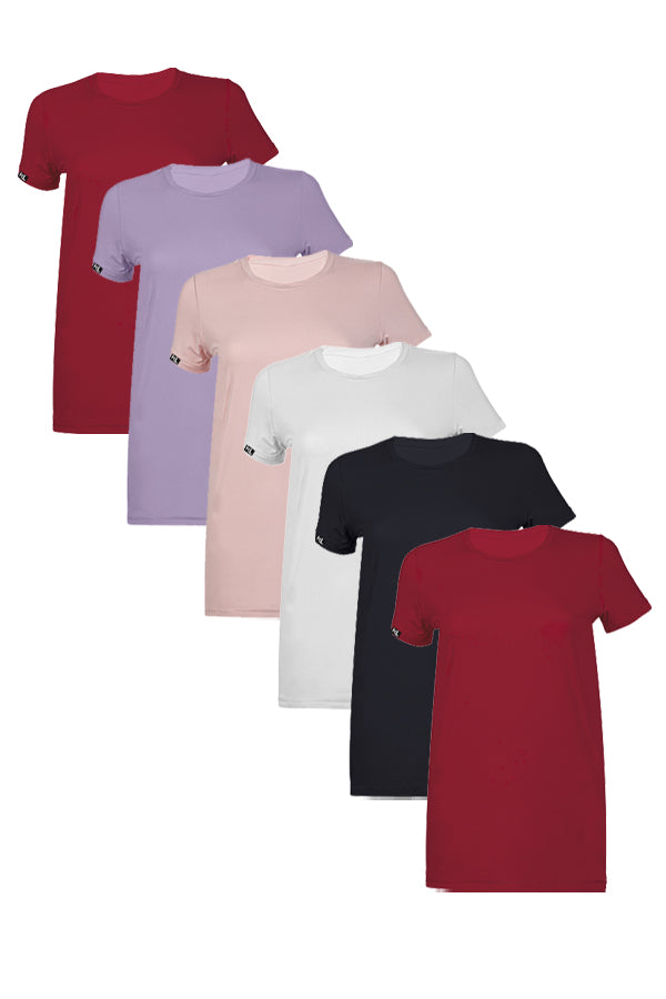Women Crew Neck T-Shirts  6 PACK 2 BUR/1 WHIT/1 BLACK /1 LAV /1 PINK