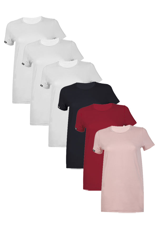 Women Crew Neck T-Shirts  6 PACK 3 WHITE/ 1 BLACK/ 1 BUR/ 1 PINK