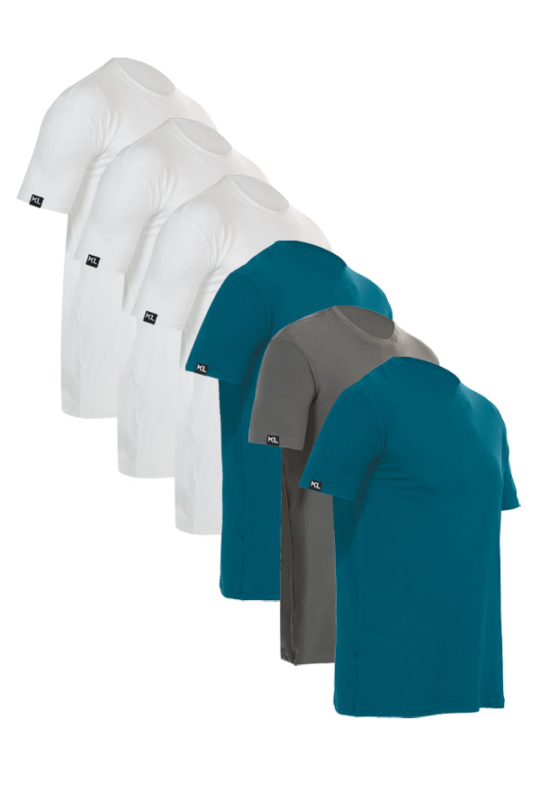 Mens Crew Neck T-Shirts 6 PACK WHITE/TEAL/GRAY