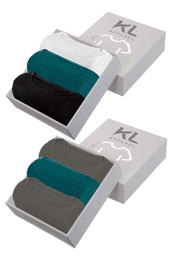 Mens Crew Neck T-Shirts 6 PACK GRAY/TEAL/BLACK/WHITE