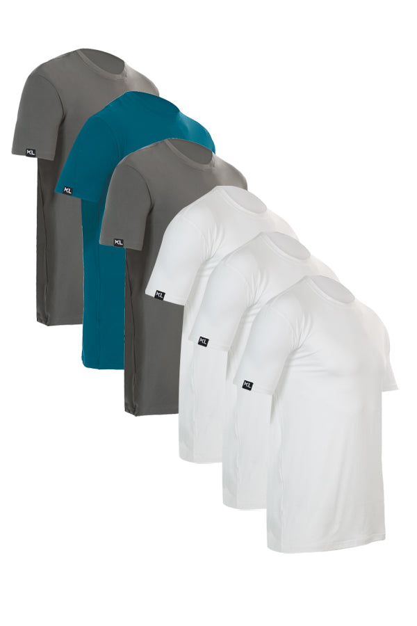 Mens Crew Neck T-Shirts 6 PACK GRAY/TEAL/WHITE