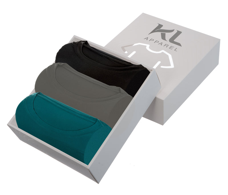 Mens Crew Neck T-Shirts 3 PACK BLACK/GRAY/TEAL
