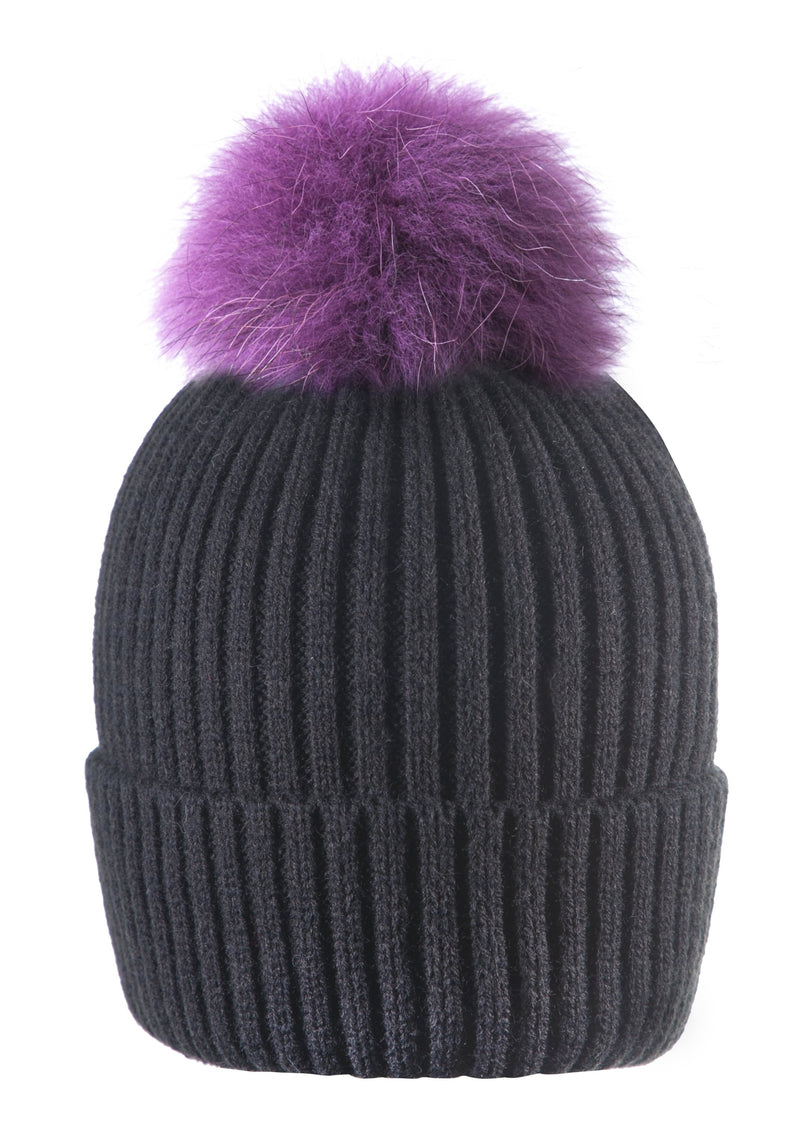 Black/Purple Pom Pom Hat