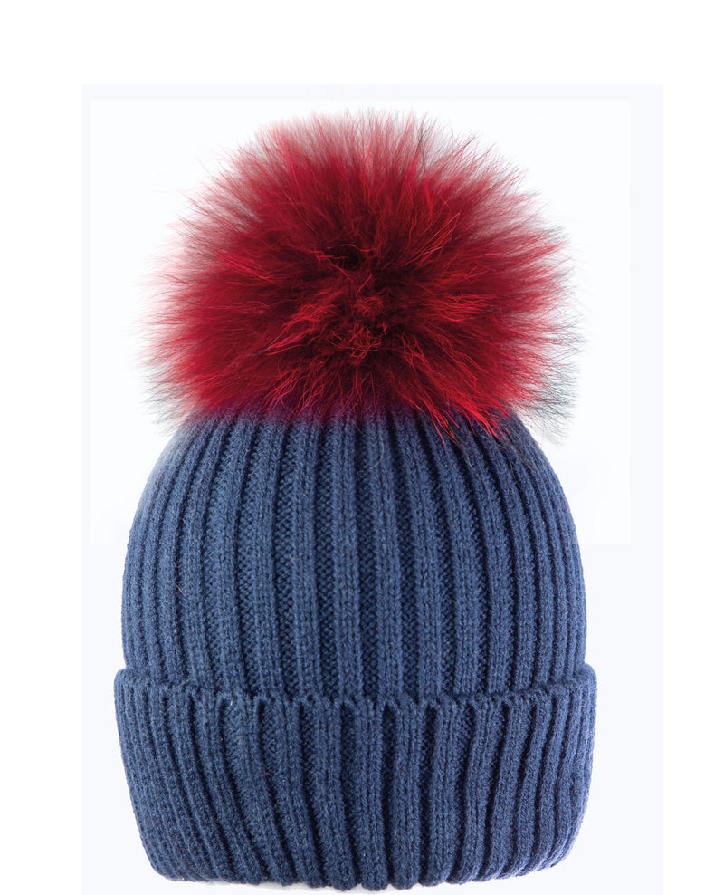 Blue/Red Beanie Hat with exclusive Pom Pom