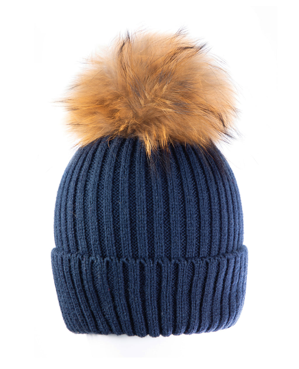 Blue/Gold Beanie Hat with exclusive Pom Pom