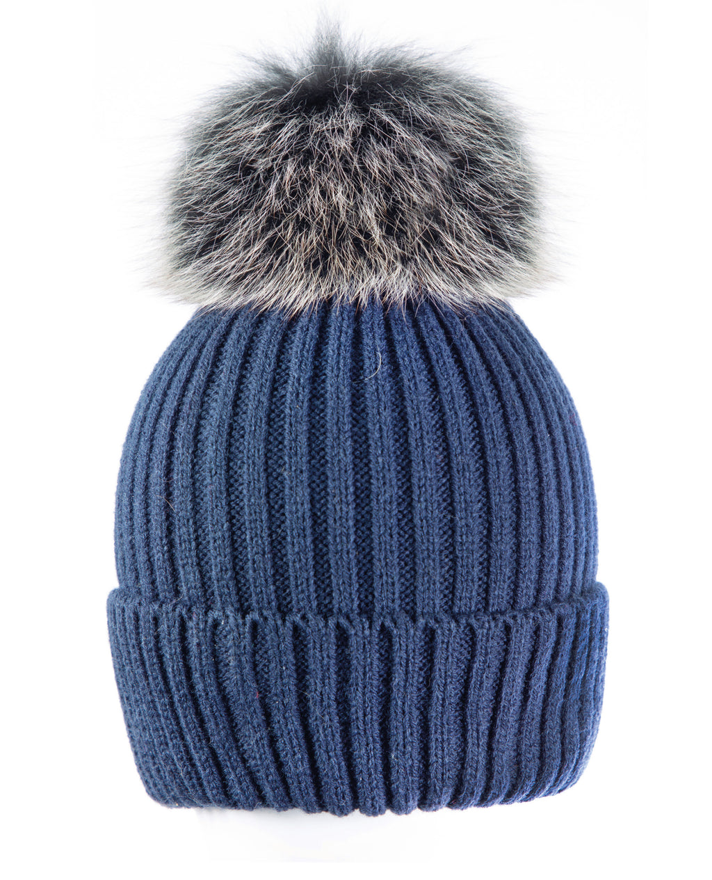 Blue/blk-wht Beanie Hat with exclusive Pom Pom