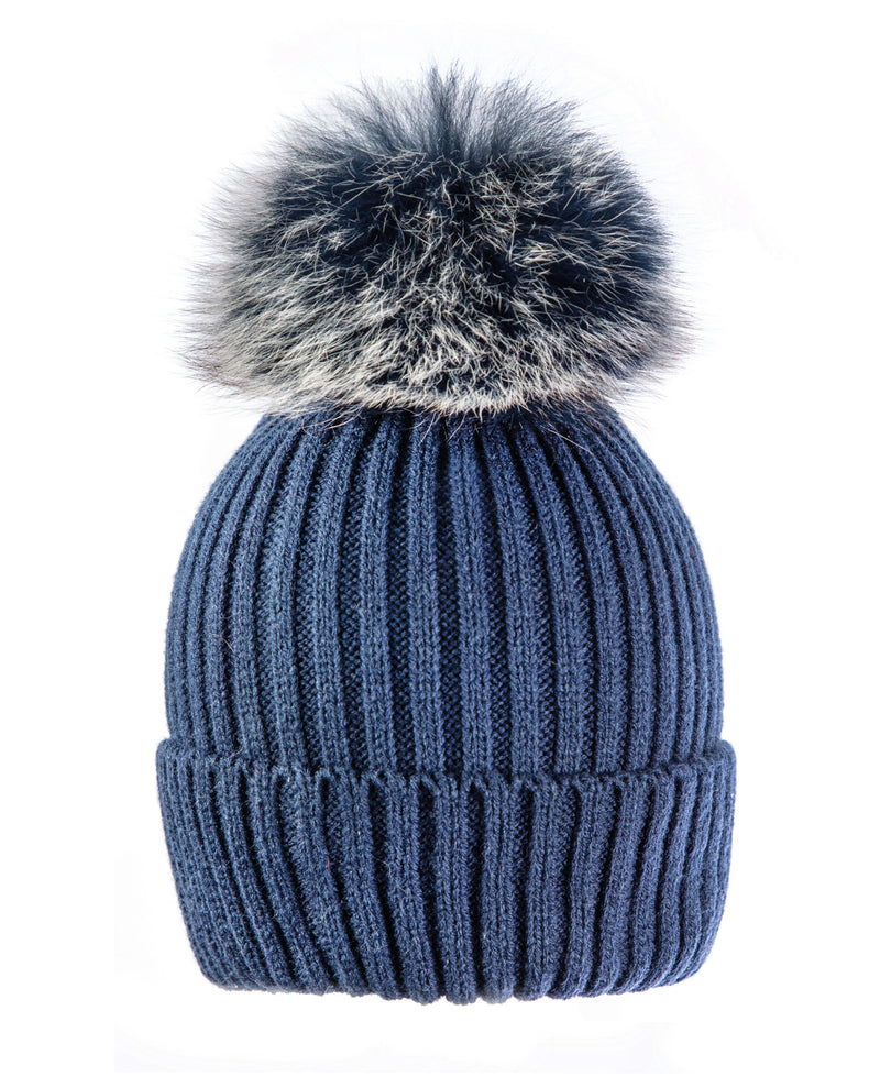 Blue/blu-wht Beanie Hat with exclusive Pom Pom