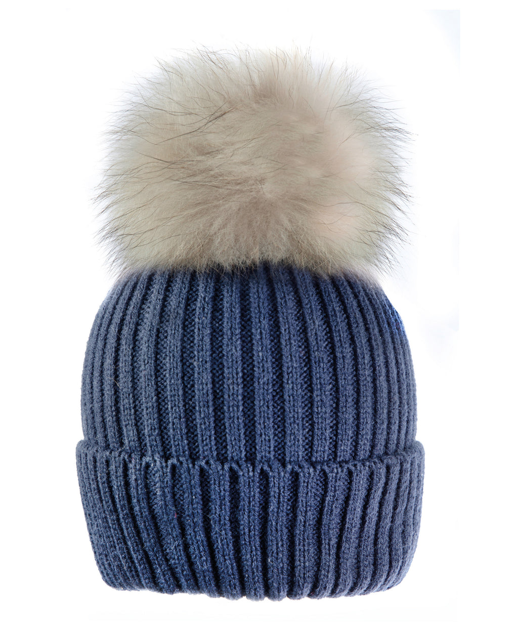 Blue/Biege Beanie Hat with exclusive Pom Pom