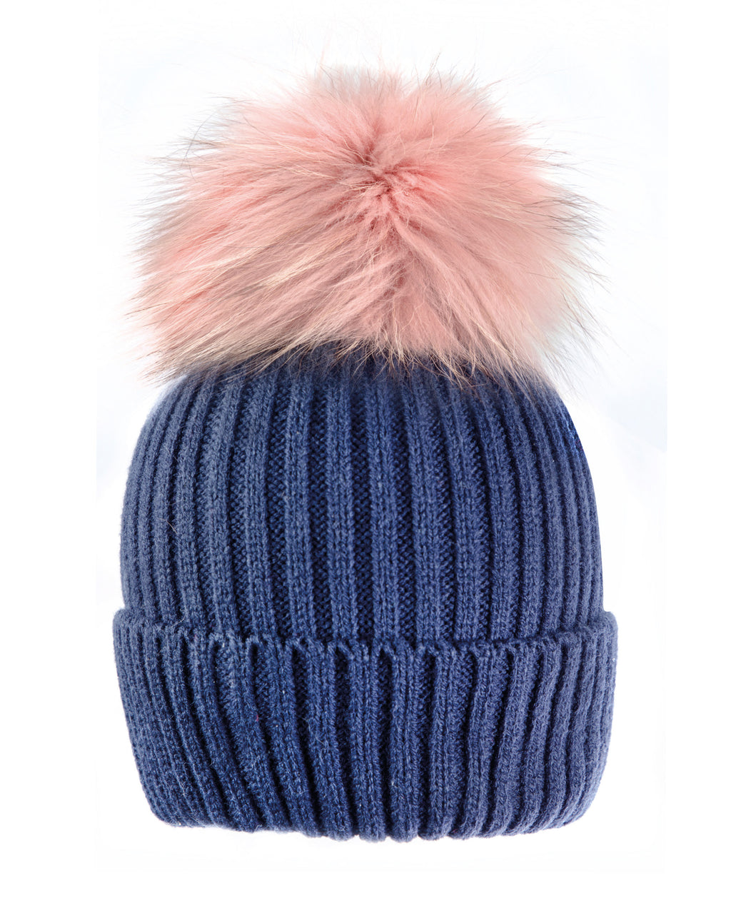 Blue/Pink Beanie Hat with exclusive Pom Pom