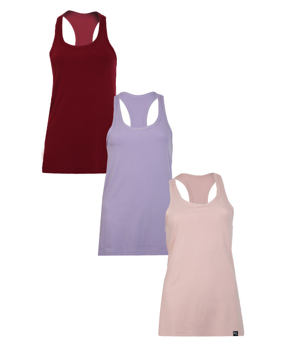 Women Tank Tops - 3 PACK BURGUNDY/ LAVENDER/ PINK