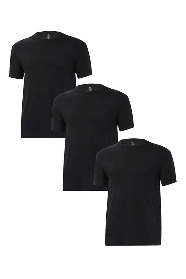 Mens Crew Neck T-Shirts 3 PACK BLACK