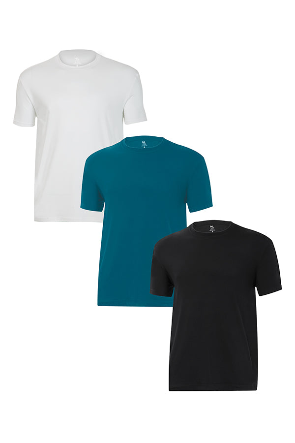 Mens Crew Neck T-Shirts 3 PACK WHITE/TEAL/BLACK
