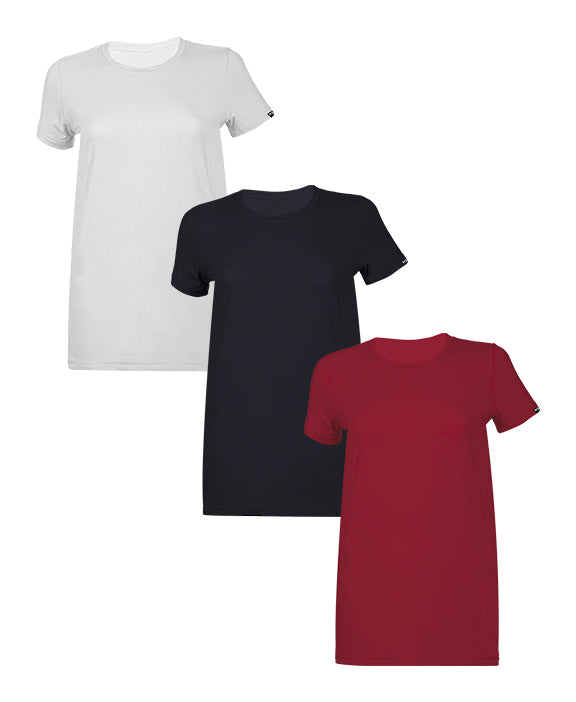 Women Crew Neck T-Shirts  3 PACK WHITE/BLACK/BURGUNDY