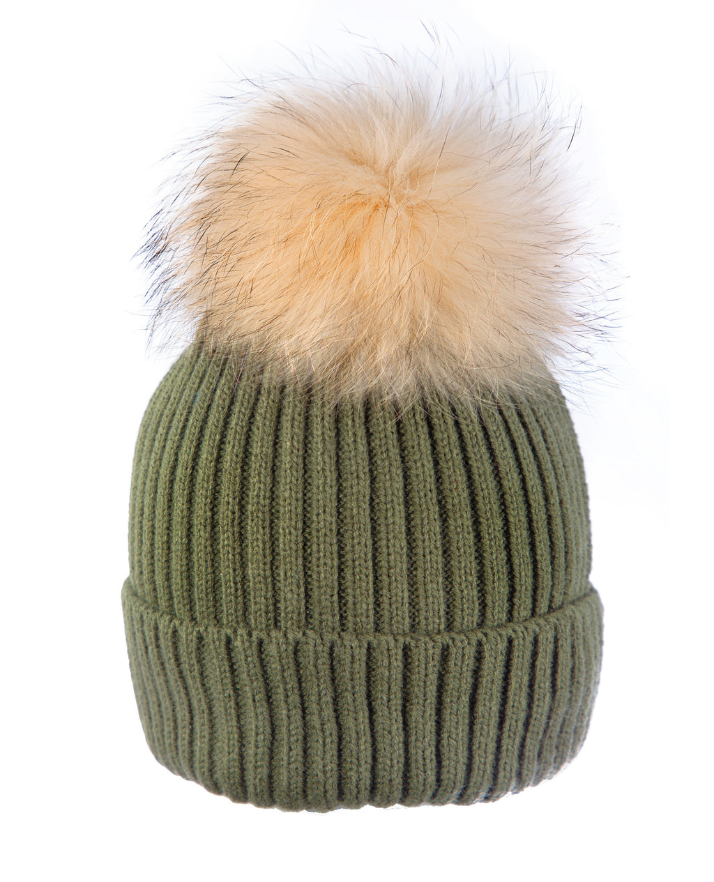 Olive/Cream Multicolor Pompom Hat
