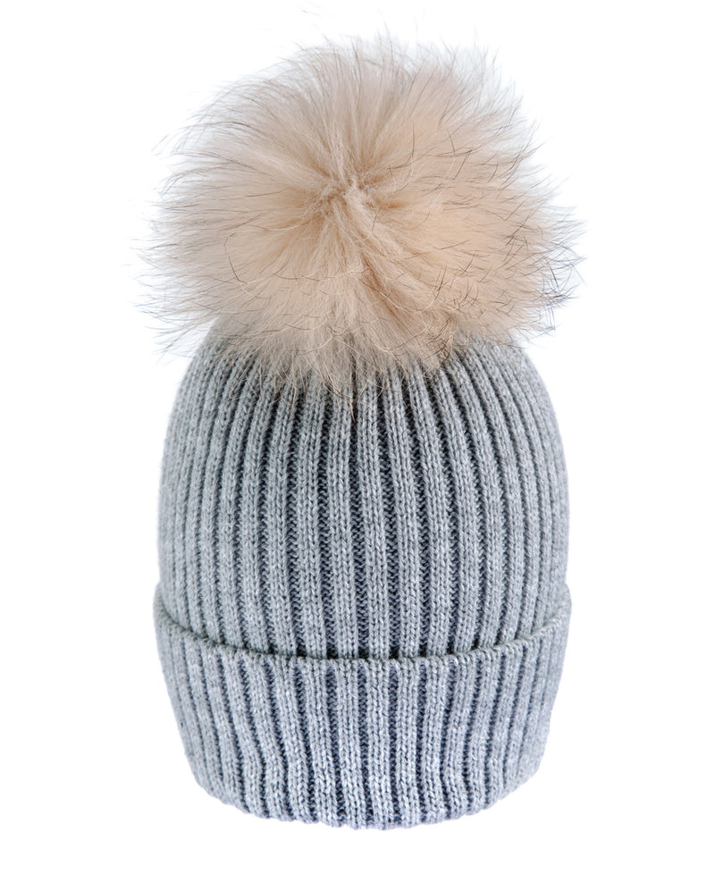 Grey/Beige Beanie Hat with exclusive Pom Pom