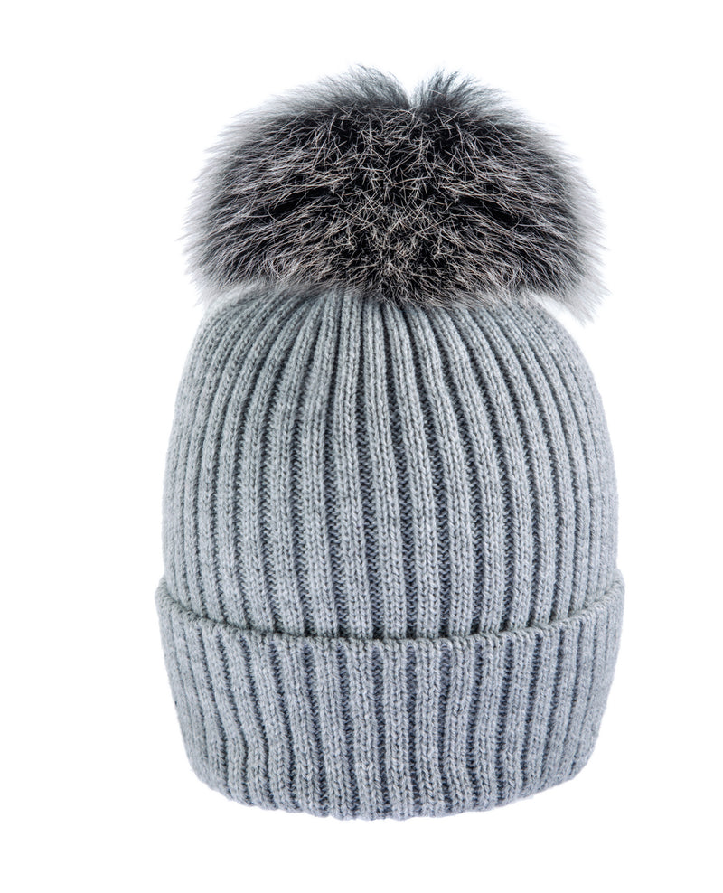 Grey/Black/Wh Beanie Hat with exclusive Pom Pom