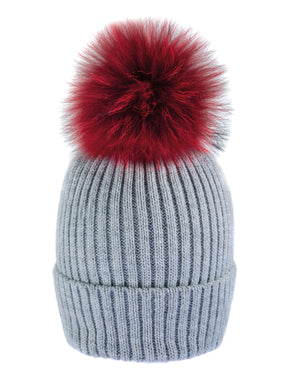 Grey/Red Beanie Hat with exclusive Pom Pom