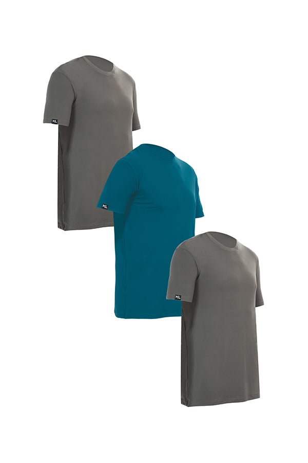 Mens Crew Neck T-Shirts 3 PACK GRAY/TEAL/GRAY