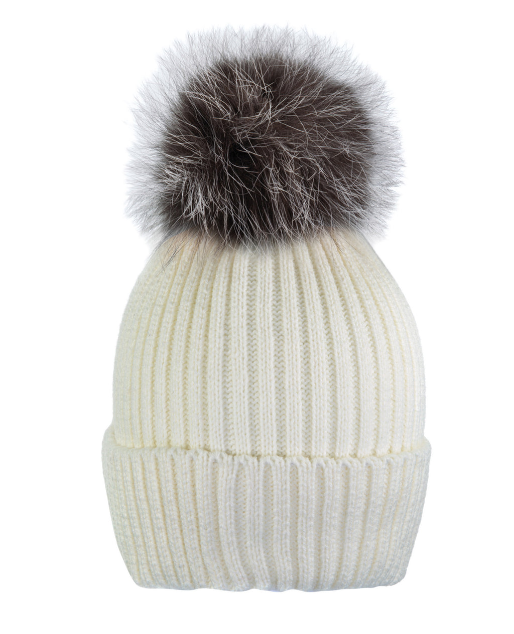 Cream White/Brown Beanie Hat With Exclusive Pom Pom