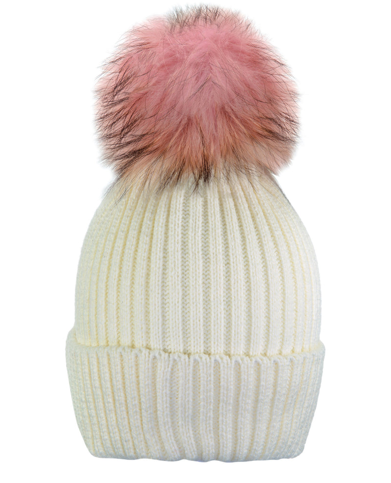 Cream White/Pink Beanie Hat With Exclusive Pom Pom