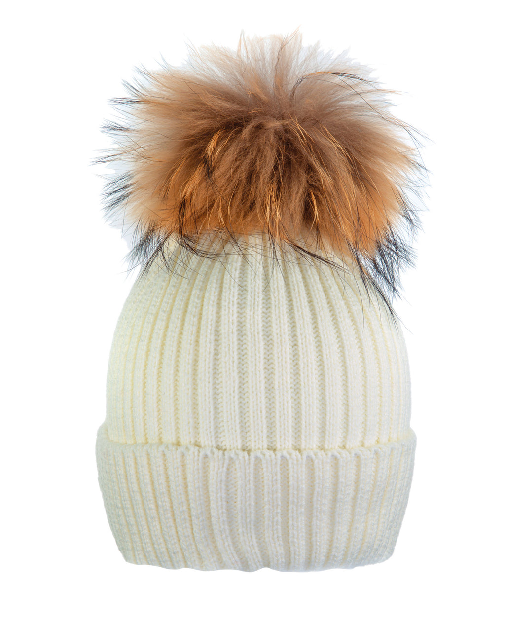 Cream White/Gold Beanie Hat With Exclusive Pom Pom