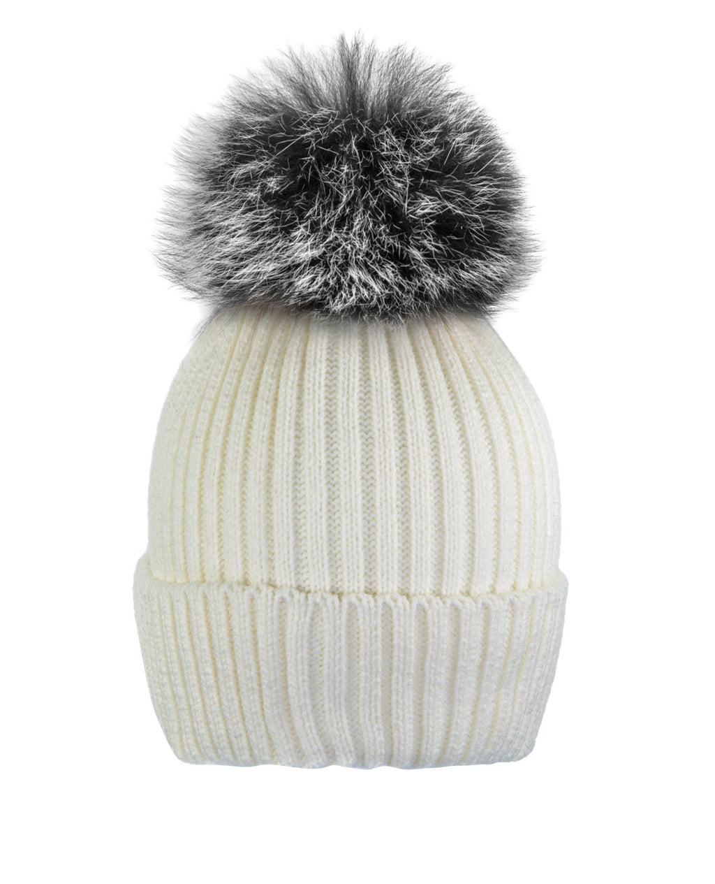 Cream White/Blk-wht Beanie Hat With Exclusive Pom Pom