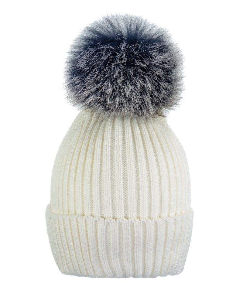 Cream White/Blu-Wht Beanie Hat With Exclusive Pom Pom
