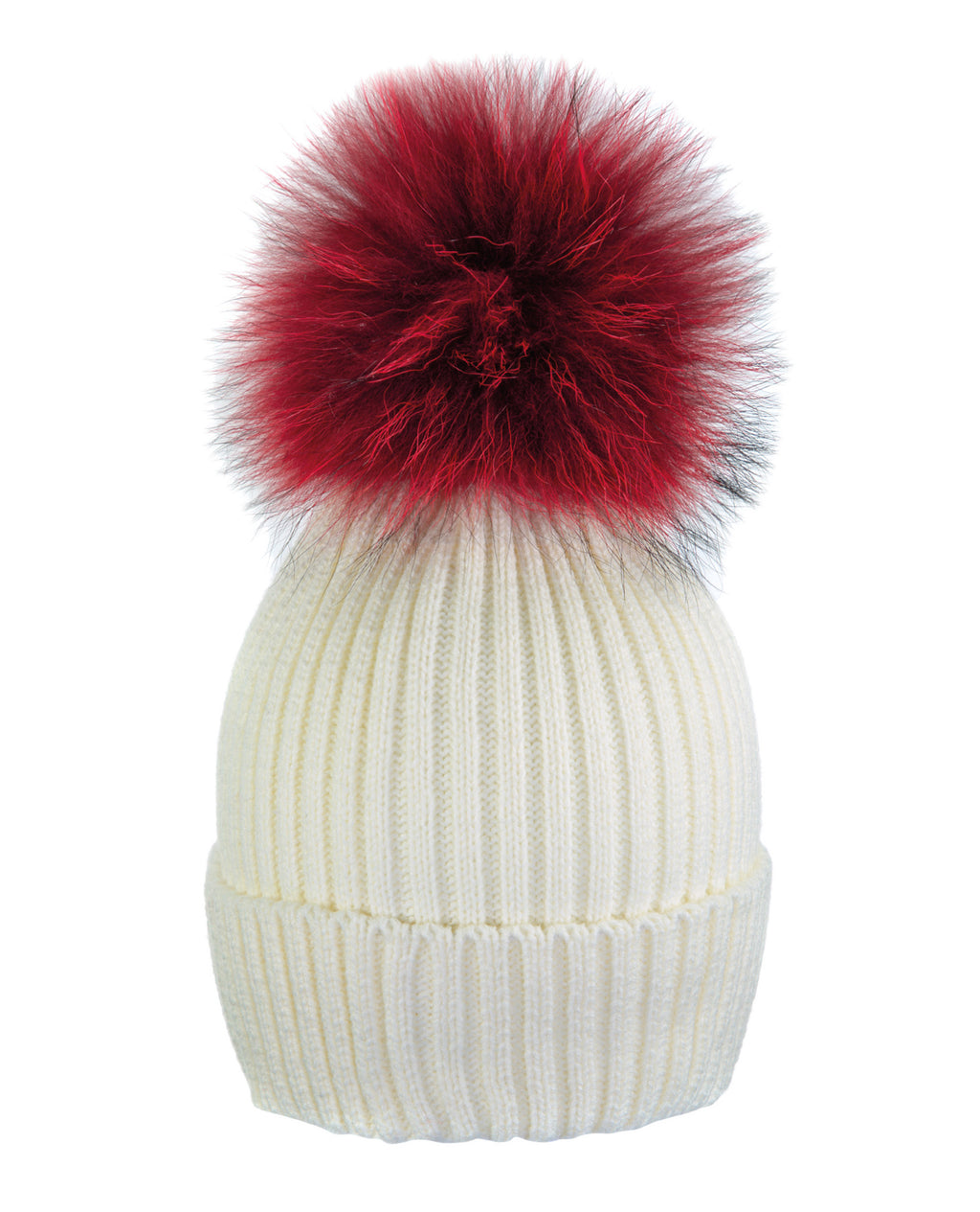 Cream White/Red Beanie Hat With Exclusive Pom Pom