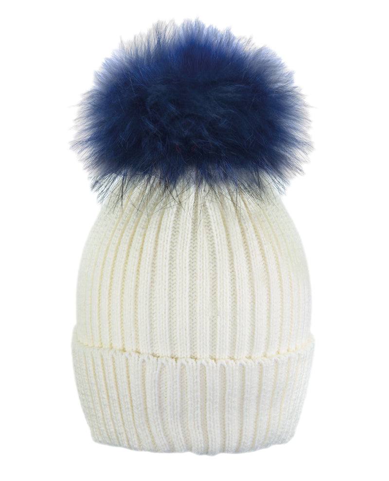 Cream White/Blu Beanie Hat With Exclusive Pom Pom from