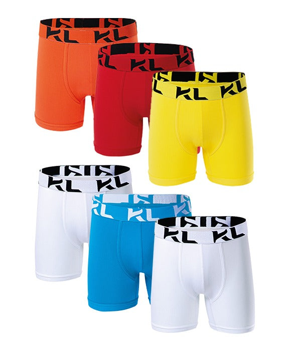 Men underwear ultra soft microfiber fabric - 6 Pack WHITE/LIGHT BLUE/ORANGE/RED/YELLOW