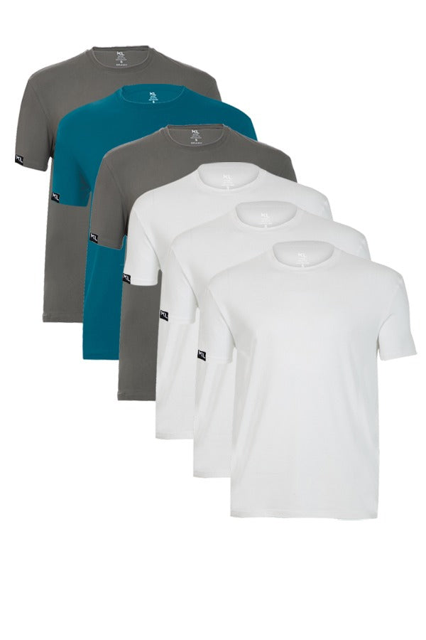 Mens Crew Neck T-Shirts 6 PACK WHITE/GRAY/TEAL/BLACK