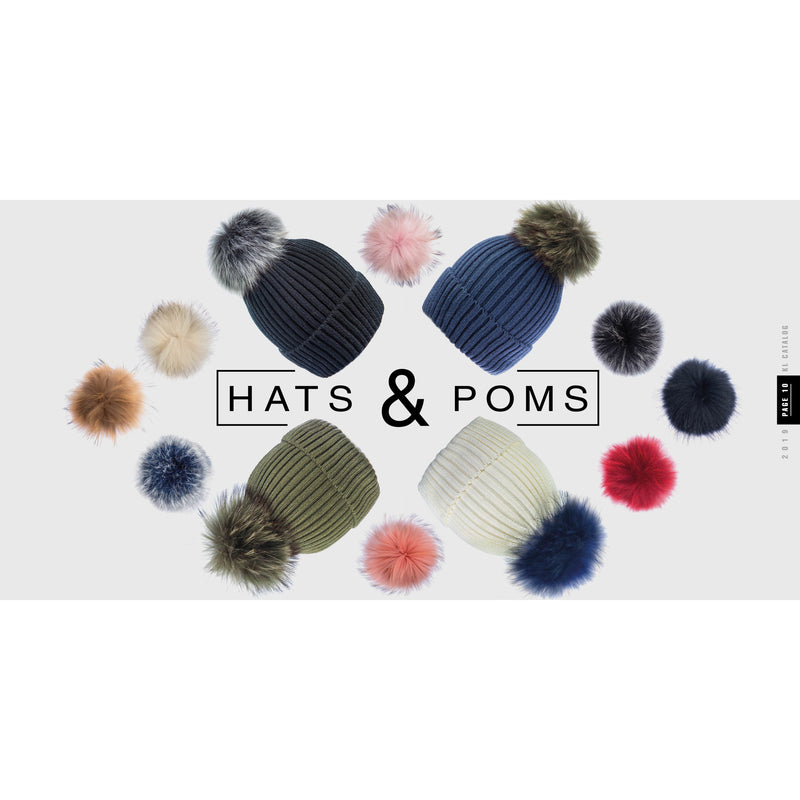 Grey/Brown/White Beanie Hat with exclusive Pom Pom