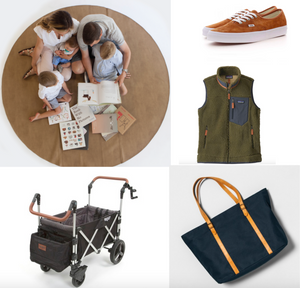 Gift Guide for Moms, vans suede sneaker, gathre playmat, hearth and hand large canvas and leather tote, patagonia women's retro x vest, keenz wagon stroller