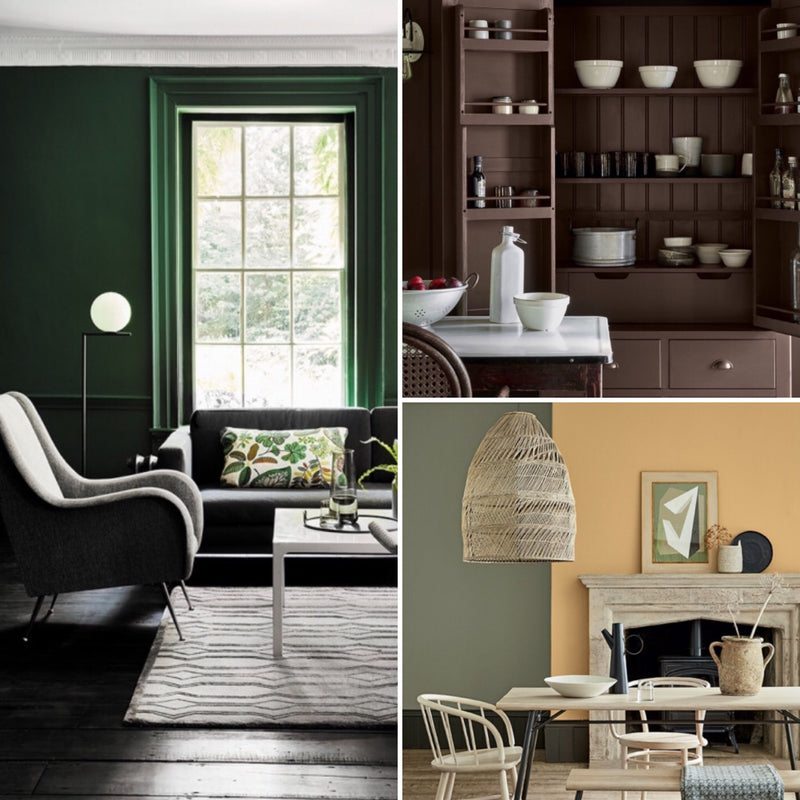 Three different shots of interiors. First one dark emerald walls, second a dark chocolate dresser and third one a beige chimney breast.