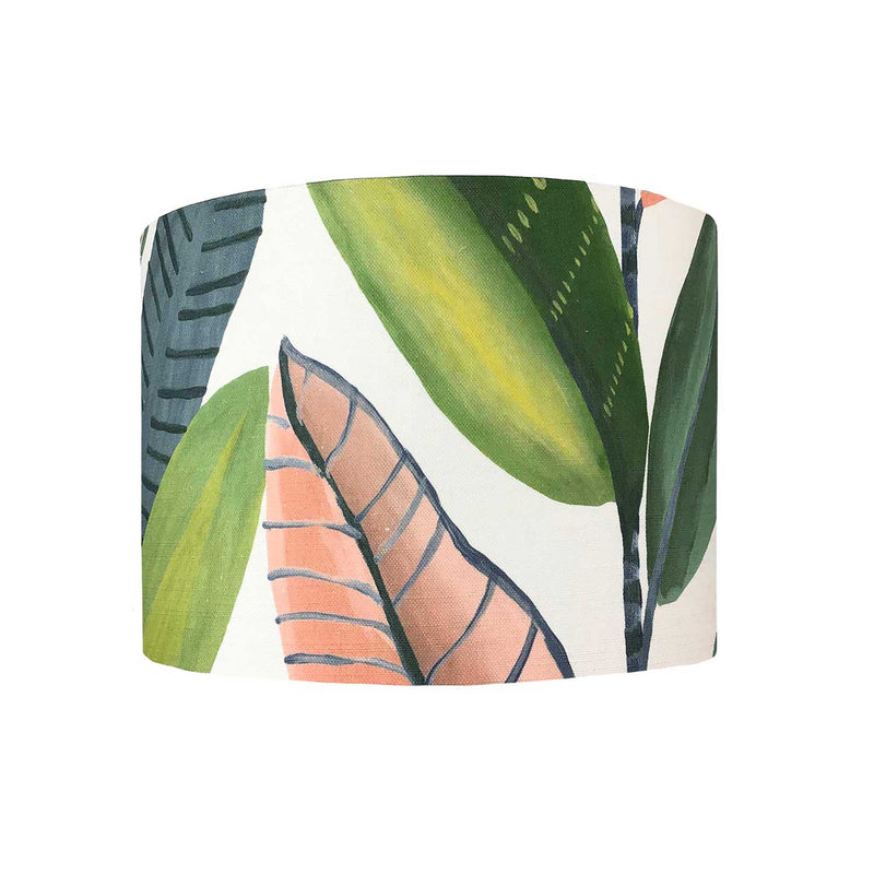Lamp Shade in Bold Banana Leaves in Pink and Green - ZziniHome