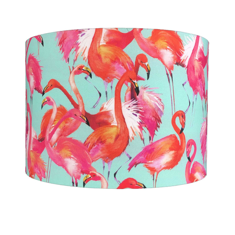 A Handmade Lamp Shade full of Vibrant Pink and Orange Flamingos on a Duck Egg Background - ZziniHome