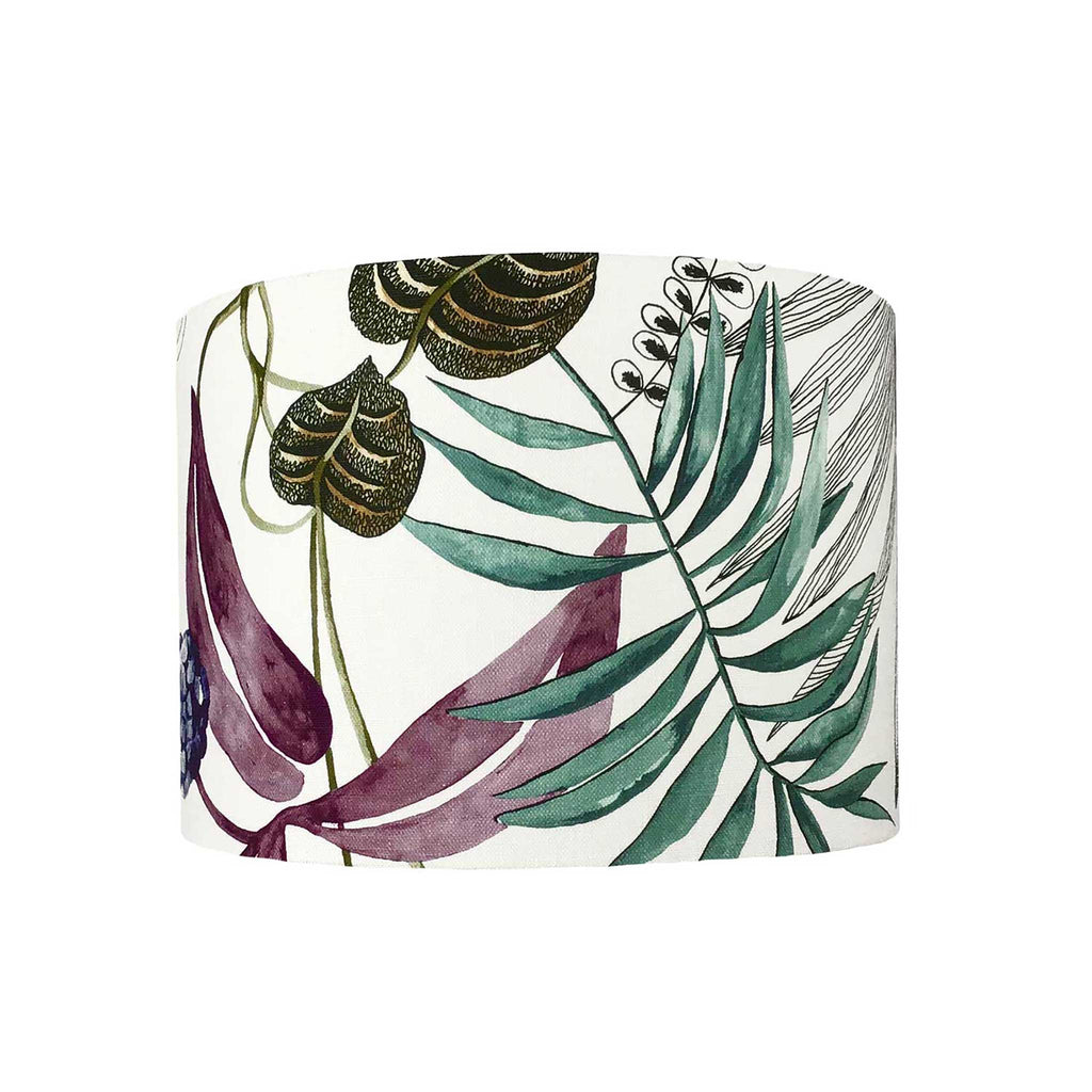 Lamp Shade in Bold Tropical Leaves and Exotic Fruits. Multi Coloured - ZziniHome