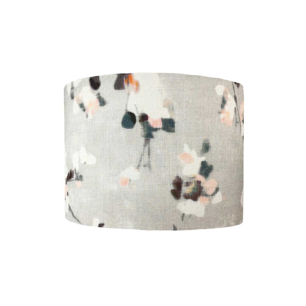 Lamp Shade in a Japanese Blossom with Pinks, Teals and Plum Touches on a Grey Background - ZziniHome