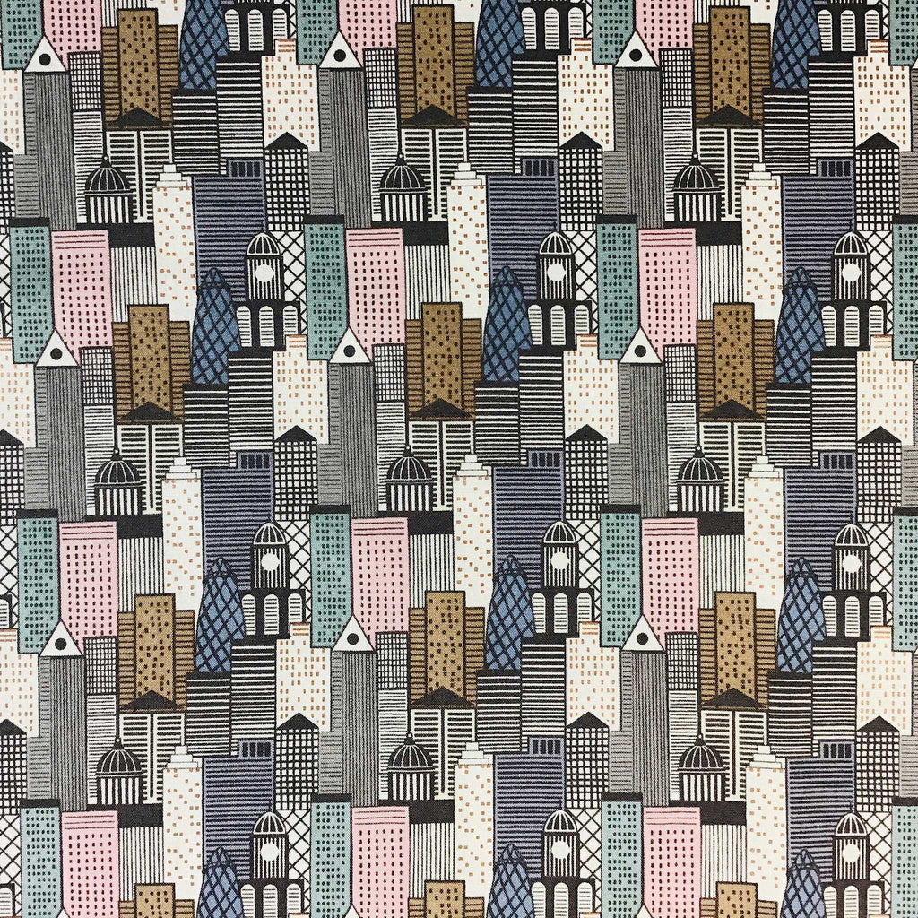 Fabric for Bespoke Lamp Shade with a City Scape Design in Muted tones of Pinks, Greys and Beige - ZziniHome