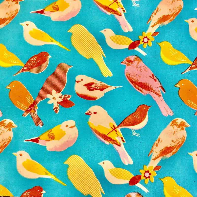Handmade Lamp Shade in a Bright Turquoise Colour with Orange and Yellow Birds - ZziniHome