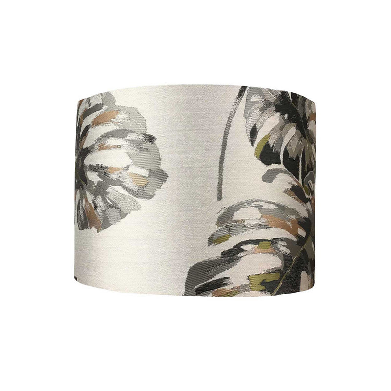 Lamp Shade with Bold Cheese Plant Leaves in Greys and Pink  - ZziniHome