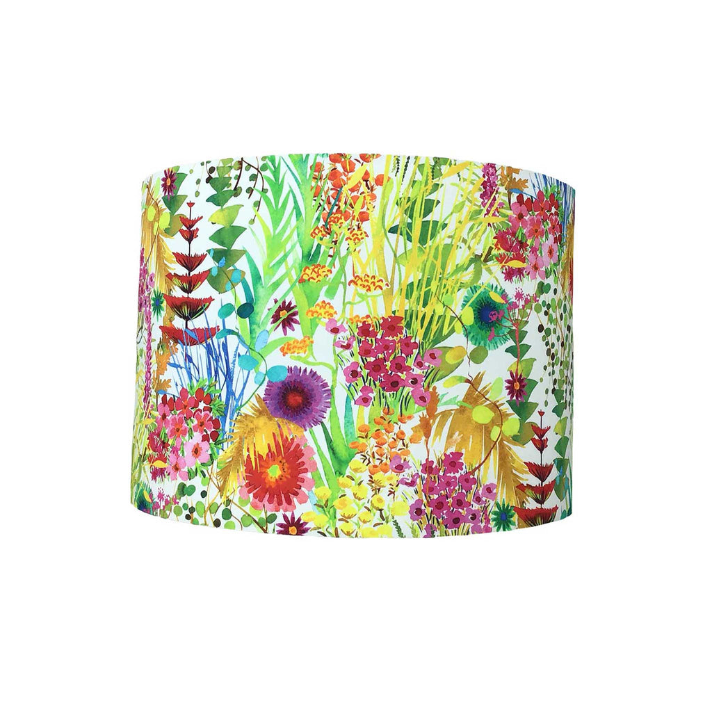 Drum Lamp Shade in Bright Wild Flowers on a Neutral Background, Liberty Design - ZziniHome