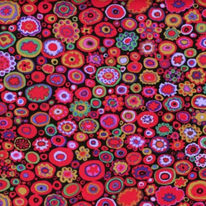 Fabric for Bespoke Lamp Shade in Millefiori Design Reds on Black - ZziniHome