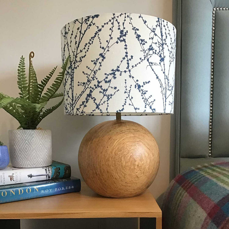 Bedside Table Lamp Shade in a Navy Twig Design - ZziniHome