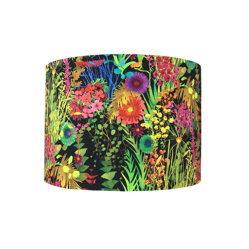 Drum Lamp Shade in Bright Wild Flowers on a Dark Background on a Liberty Fabric
