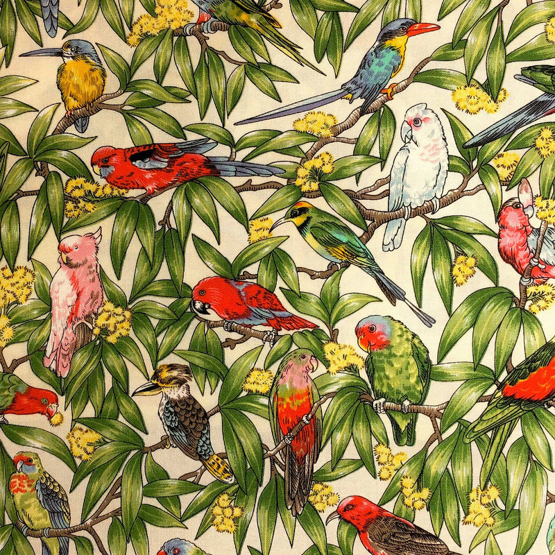 Bespoke Lamp Shade with Exotic Birds, Parakeets, King Fishers and Cockatoos