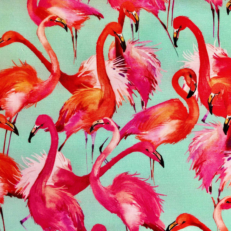 Fabric for Bespoke Lamp Shade with Bright Pink Flamingos on Duck Green Background - ZziniHome